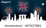 singapore skyline silhouette ...   Shutterstock .eps vector #407627881