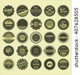 vintage labels black and green... | Shutterstock .eps vector #407628505