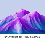 low poly mountain landscape.... | Shutterstock .eps vector #407633911