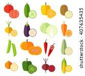 set of fresh healthy vegetables ... | Shutterstock .eps vector #407635435