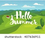 hello summer lettering on... | Shutterstock .eps vector #407636911