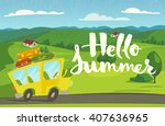 vector nature landscape. hello... | Shutterstock .eps vector #407636965