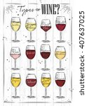 poster main types of wine... | Shutterstock .eps vector #407637025