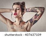 beautiful tattooed woman with...   Shutterstock . vector #407637109