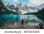 on the banks of the moraine... | Shutterstock . vector #407645305