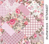 seamless patchwork floral... | Shutterstock .eps vector #407646607