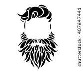 hipster portrait. mustache ... | Shutterstock .eps vector #407647441