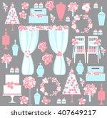 decorative wedding elements.... | Shutterstock .eps vector #407649217