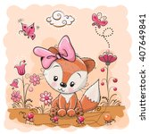 cute cartoon fox on a meadow... | Shutterstock .eps vector #407649841