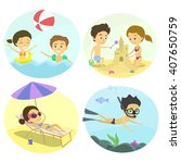 summer fun at the beach with... | Shutterstock .eps vector #407650759