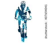 mountain biker front view  mtb. ... | Shutterstock .eps vector #407654041