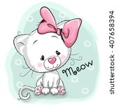 cute cartoon white kitten on a... | Shutterstock .eps vector #407658394