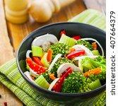 healthy food made of broccoli ...   Shutterstock . vector #407664379