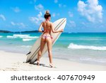 sexy hot tanned back of young... | Shutterstock . vector #407670949