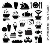 vector black food icons set   Shutterstock .eps vector #407676064