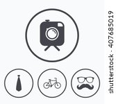 hipster photo camera with... | Shutterstock .eps vector #407685019