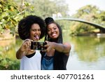 afro friends having fun in the... | Shutterstock . vector #407701261