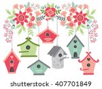 flowers with bird houses | Shutterstock .eps vector #407701849