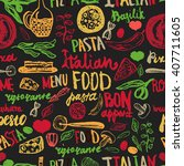 italian food seamless... | Shutterstock .eps vector #407711605