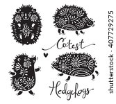 set of cutest hedgehogs with... | Shutterstock .eps vector #407729275