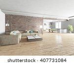 white modern interior of living ... | Shutterstock . vector #407731084
