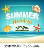 summer holiday on beach view... | Shutterstock . vector #407732839