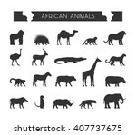 cool set silhouettes of african ... | Shutterstock . vector #407737675