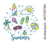 summer vector icon in doodle...