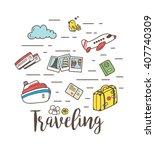 travel doodle | Shutterstock .eps vector #407740309