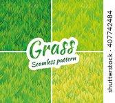 summer green grass texture.... | Shutterstock .eps vector #407742484