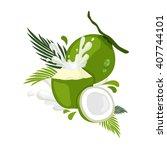 fresh coconut  | Shutterstock .eps vector #407744101
