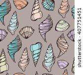 seashells seamless pattern.... | Shutterstock .eps vector #407751451