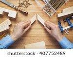 woodworking workshop table top... | Shutterstock . vector #407752489