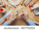 woodworking workshop table top... | Shutterstock . vector #407752501