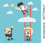 businessman on a ladder grab... | Shutterstock .eps vector #407753617