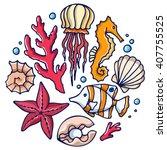 sea set  jellyfish  coral  sea... | Shutterstock .eps vector #407755525