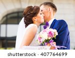 bride and groom at wedding day... | Shutterstock . vector #407764699