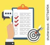 flat illustration checklist | Shutterstock . vector #407766904