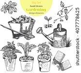 hand drawn vector garden tools. ... | Shutterstock .eps vector #407778625