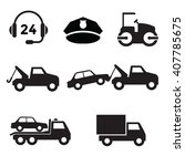 towing car icon collection with ... | Shutterstock .eps vector #407785675