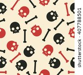 vector seamless pattern skulls... | Shutterstock .eps vector #407788501