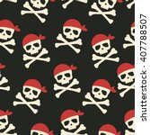 vector seamless pattern skulls... | Shutterstock .eps vector #407788507