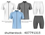 men's short sleeve cycling... | Shutterstock .eps vector #407791315