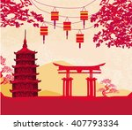chinese new year card  ... | Shutterstock . vector #407793334