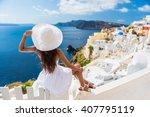 Tourist Woman Enjoying View Of...
