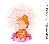 Little Meditating Buddha On The ...