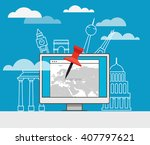 vacation travelling composition    Shutterstock .eps vector #407797621