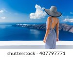 luxury travel vacation woman... | Shutterstock . vector #407797771
