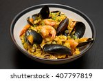 Dish With Paella  And Seafood