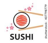 chopsticks holding salmon sushi ... | Shutterstock .eps vector #407798779